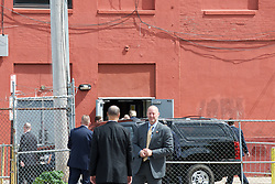 Republican candidate DONALD TRUMP arrives to meet with Republican, African-American leaders at a September 2, 2016 roundtable discussion in North Philadelphia, Pennsylvania