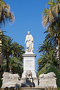 Place du Marechal Foch. The statue of Napoleon Bonaparte as a Roman Emperor with toga and laurel, surrounded by a lion fountain.