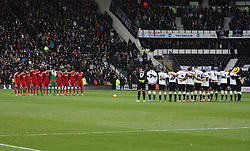 General view as both teams observe a minutes silence for the Paris terrorist attack before the match - Mandatory byline: Jack Phillips / JMP - 07966386802 - 21/11/2015 - FOOTBALL - The iPro Stadium - Derby, Derbyshire - Derby County v Cardiff City - Sky Bet Championship