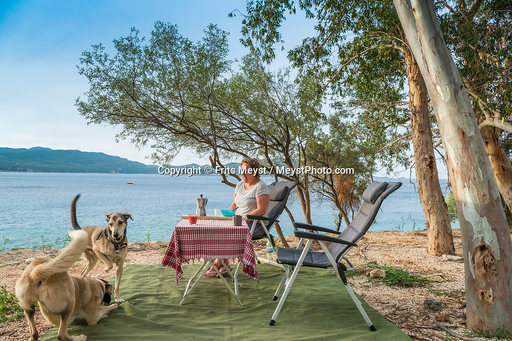 Kas, Antalya, Turkey, April 2017.  Kas camping. With its many small bays along the rugged  mediterranean coast, and a great safety standard, Turkey is well suited for camper tourism. Photo by Frits Meyst / MeystPhoto.com