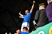 Portsmouth Defender, Christian Burgess (6) celebrates winning the league on the final day of the season during the EFL Sky Bet League 2 match between Portsmouth and Cheltenham Town at Fratton Park, Portsmouth, England on 6 May 2017. Photo by Adam Rivers.