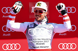 19.03.2017, Aspen, USA, FIS Weltcup Ski Alpin, Finale 2017, Gesamtweltcup, Herren, Siegerehrung, im Bild Marcel Hirscher (AUT, Slalom Riesenslalom und Gesamt Weltcup Sieger), // Winner of Slalom Giant Slalom and Overall World Cup Marcel Hirscher of Austria during the winner award ceremony for the mens's Overall winner of 2017 FIS ski alpine world cup finals. Aspen, United Staates on 2017/03/19. EXPA Pictures © 2017, PhotoCredit: EXPA/ Erich Spiess