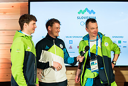 PYEONGCHANG-GUN, SOUTH KOREA - FEBRUARY 24: Bronze medalist Zan Kosir of Slovenia, his coach Jernej Demsar and Izidor Sustersic in Slovenia House after the Men's Parallel Giant Slalom Elimination Run on day fifteen of the PyeongChang 2018 Winter Olympic Games on February 24, 2018 in Pyeongchang-gun, South Korea. Photo by Ronald Hoogendoorn / Sportida