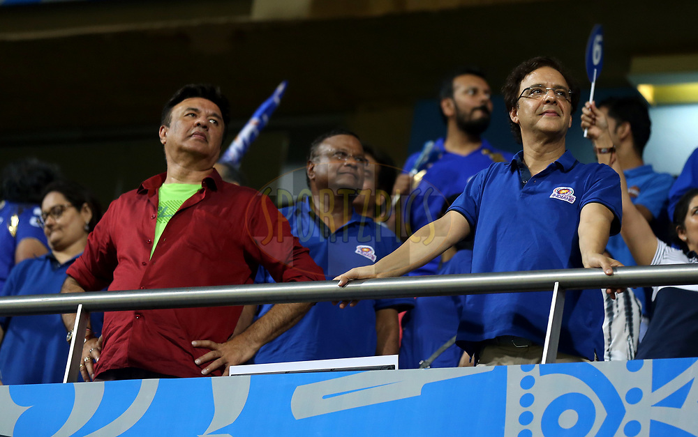 Anu Malik Bollywood singer and music composer and Vidhu Vinod Chopra  Indian film director during match 10 of the Vivo 2017 Indian Premier League between the Mumbai Indians and the Sunrisers Hyderabad held at the Wankhede Stadium in Mumbai, India on the 10th April 2017<br /> <br /> Photo by Sandeep Shetty - Sportzpics - IPL