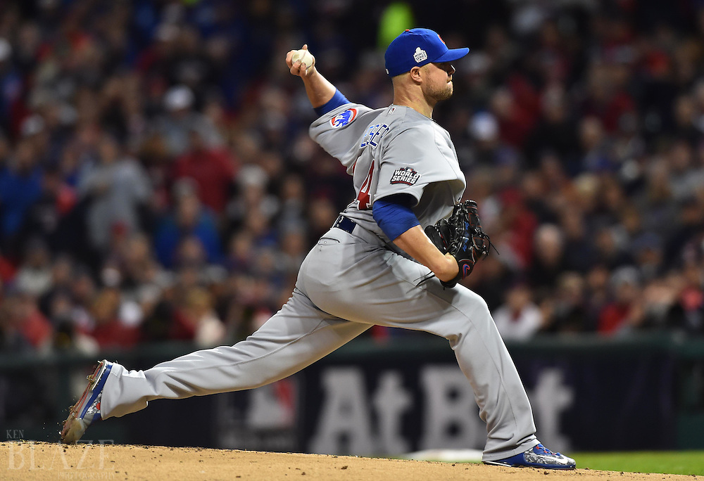 Oct 25, 2016; Cleveland, OH, USA; Chicago Cubs starting pitcher Jon Lester throws against the Cleveland Indians in the first inning in game one of the 2016 World Series at Progressive Field. Mandatory Credit: Ken Blaze-USA TODAY Sports