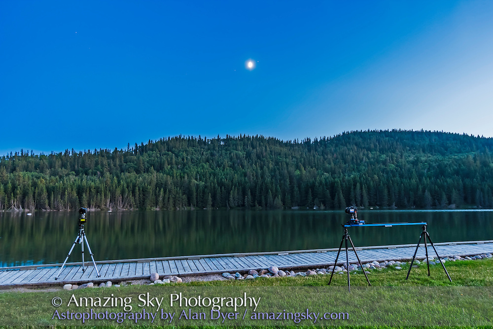 Shooting a time-lapse with the eMotimo motion controller and Dynamic Perception dolly system at Reesor Lake, Alberta, July 5, 2014.