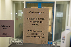 ©Licensed to London News Pictures 29/02/2020<br /> Sevenoaks, UK. A closed notice on the main door window tonight. Sevenoaks Minor injuries unit at Sevenoaks Hospital in Sevenoaks, Kent is closed and on lockdown tonight due to two suspected cases of Coronavirus. Photo credit: Grant Falvey/LNP