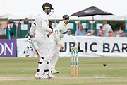 Harry Dearden shys at the stumps during the Specsavers County Champ Div 2 match between Gloucestershire County Cricket Club and Leicestershire County Cricket Club at the Cheltenham College Ground, Cheltenham, United Kingdom on 17 July 2019.