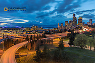 City skyline and Interstate 90 and 5 from Rizal Bridge in downtown Seattle, Washington, USA