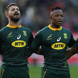 Willie le Roux with Sibusiso Nkosi of South Africa during the 2018 Castle Lager Incoming Series 3rd Test match between South Africa and England at Newlands Rugby Stadium,Cape Town,South Africa. 23,06,2018 Photo by (Steve Haag JMP)