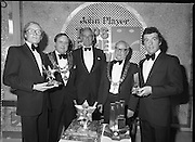 John Player Tops of the Town Final..1980-06-01.1st June 1980.01-06-1980.06-01-80..Photographed at Gaiety Theatre, Dublin...Irish Distillers Variety Group emerge as winner in the John Player Tops of the Town Final. They beat Waterford Banks and Finance by two marks. ..From Left:..Bobby Cooke, Group leader of the Irish Distillers Variety Group holding the Irish National Final Trophy...Alderman Stephen Rogers, Mayor of Waterford...Frank O'Reilly, Chairman of John Player, presenting the National Final Trophy...Alderman William Cummiskey, Lord Mayor of Dublin...Michael Harte, Group leader Waterford Banks and Finance, holding his prize.