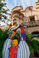 Poete et sa Muse (Poet and Muse) sculpture by Niki de Saint Phalle, Mingei International Museum,  Balboa Park, San Diego, California USA.
