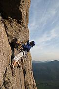Climber on Kippling Groove, Gimmer Crag, Langdale, Lake District, Cumbria, England, UK
