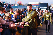 Francisco Casilla of Leeds United (33) arrives at the ground before the EFL Sky Bet Championship match between Leeds United and Bolton Wanderers at Elland Road, Leeds, England on 23 February 2019.