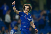 Chelsea defender David Luiz (30) puts his thumb up to the Chelsea football fans, football supporters, during the Premier League match between Chelsea and Burnley at Stamford Bridge, London, England on 21 April 2019.