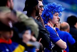 A Chelsea fan in a blue wig looks on - Mandatory by-line: Robbie Stephenson/JMP - 18/04/2019 - FOOTBALL - Stamford Bridge - London, England - Chelsea v Slavia Prague - UEFA Europa League Quarter Final 2nd Leg