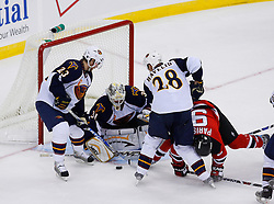 Nov 1, 2008; Newark, NJ, USA; Atlanta Thrashers goalie Ondrej Pavelec (31) makes a save during the third period at the Prudential Center. The Devils defeated the Thrashers 6-1.  Mandatory Credit: Ed Mulholland-US PRESSWIRE