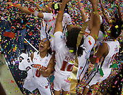Maryland players celebrate their 68 - 65 win over Georgia Tech in the Championship Game of the 2012 ACC Women's Basketball Tournament in Greensboro, North Carolina.  March 04, 2012  (Photo by Mark W. Sutton)