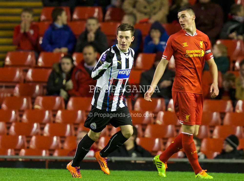 LIVERPOOL, ENGLAND - Friday, March 21, 2014: Newcastle United's Callum Roberts celebrates scoring the first goal against Liverpool during the Under 21 FA Premier League match at Anfield. (Pic by David Rawcliffe/Propaganda)