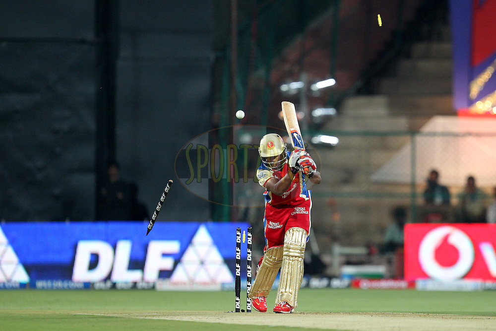 Mayank Agarwal clean bold by Rayn Harris during match 44 of the the Indian Premier League ( IPL) 2012  between The Royal Challengers Bangalore and the Kings XI Punjab held at the M. Chinnaswamy Stadium, Bengaluru on the 2nd May 2012..Photo by Prashant Bhoot/IPL/SPORTZPICS