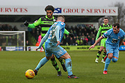 Forest Green Rovers Reuben Reid(26) goes past Coventry City's Josh Barrett(27) during the EFL Sky Bet League 2 match between Forest Green Rovers and Coventry City at the New Lawn, Forest Green, United Kingdom on 3 February 2018. Picture by Shane Healey.