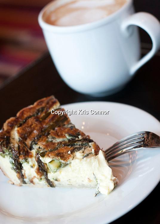 050310-WashingtonDC- The asparagus and provolone quiche at Buzz Coffee Shop in Alexandria, Va. Photo by Kris Connor