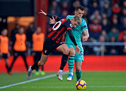 BOURNEMOUTH, ENGLAND - Sunday, November 25, 2018: AFC Bournemouth's David Brooks (L) an Arsenal's Granit Xhaka during the FA Premier League match between AFC Bournemouth and Arsenal FC at the Vitality Stadium. (Pic by David Rawcliffe/Propaganda)