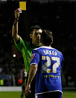 Photo: Steve Bond/Richard Lane Photography. Leicester City v Peterborough United. Coca-Cola Football League One. 20/12/2008. Andrew Dickov is booked by ref Lee Probert