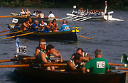 Crews from around the UK and Ireland compete in the annual Great River race on the river Thames, on 23rd September 1995, in London England.