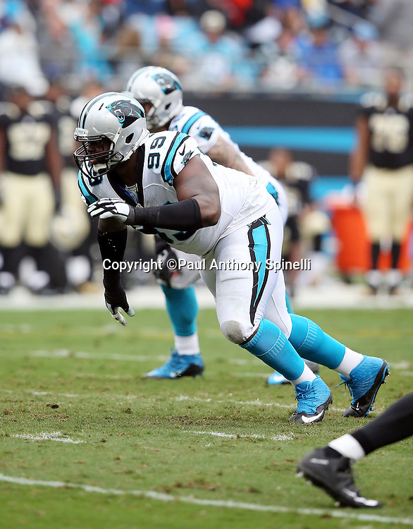 Carolina Panthers defensive tackle Kawann Short (99) rushes during the 2015 NFL week 3 regular season football game against the New Orleans Saints on Sunday, Sept. 27, 2015 in Charlotte, N.C. The Panthers won the game 27-22. (©Paul Anthony Spinelli)