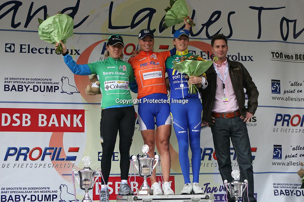 Ladiestour 2008 Limburg<br />Charlotte Becker overall winner HLT 2008, 2nd Ina Yoko Teutenberg, 3th Irene van den Broek