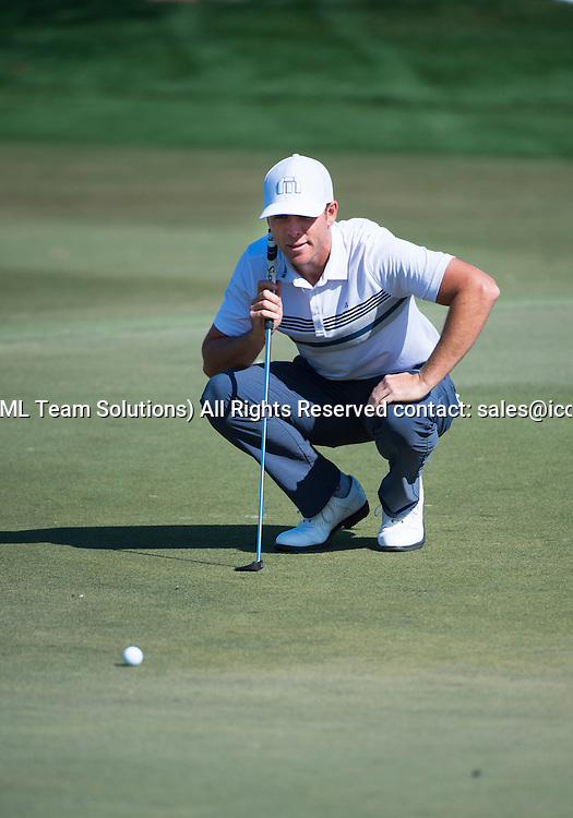 27 February 2016: Luke List lines up his putt during the third round of the Honda Classic at the PGA National Resort & Spa in Palm Beach Gardens, FL.