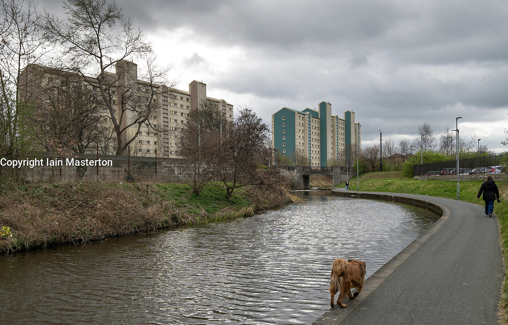 High rise apartment blocks beside the Union Canal in Wester Hailes, Edinburgh, Scotland, UK