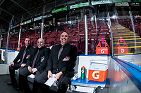 KELOWNA, CANADA - NOVEMBER 29: Ice officials sit in the penalty box at the start of the game between the visiting Prince George Cougars and the Kelowna Rockets on November 29, 2017 at Prospera Place in Kelowna, British Columbia, Canada.  (Photo by Marissa Baecker/Shoot the Breeze)  *** Local Caption ***