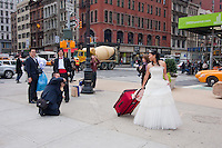 Wedding outside the Flatiron building in New York City October 2008