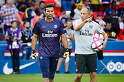 PSG Gianluigi Buffon and a PSG goalkeeper coach prior to the French championship L1 football match between Paris Saint-Germain (PSG) and Caen on August 12th, 2018 at Parc des Princes, Paris, France - Photo Geoffroy Van der Hasselt / ProSportsImages / DPPI