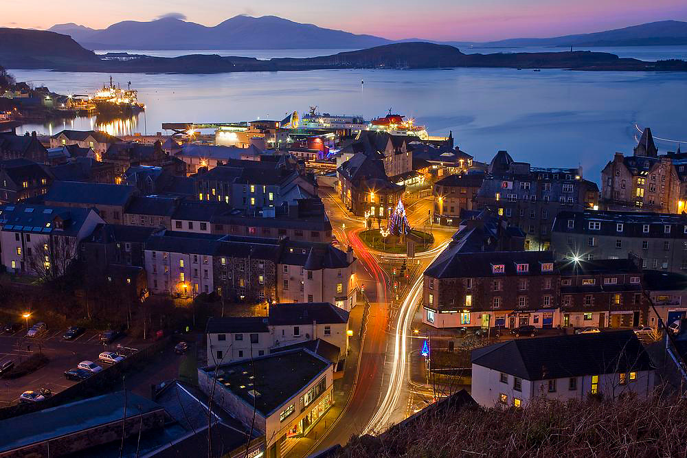 Oban at Christmas with a distant Mull in view, Argyll