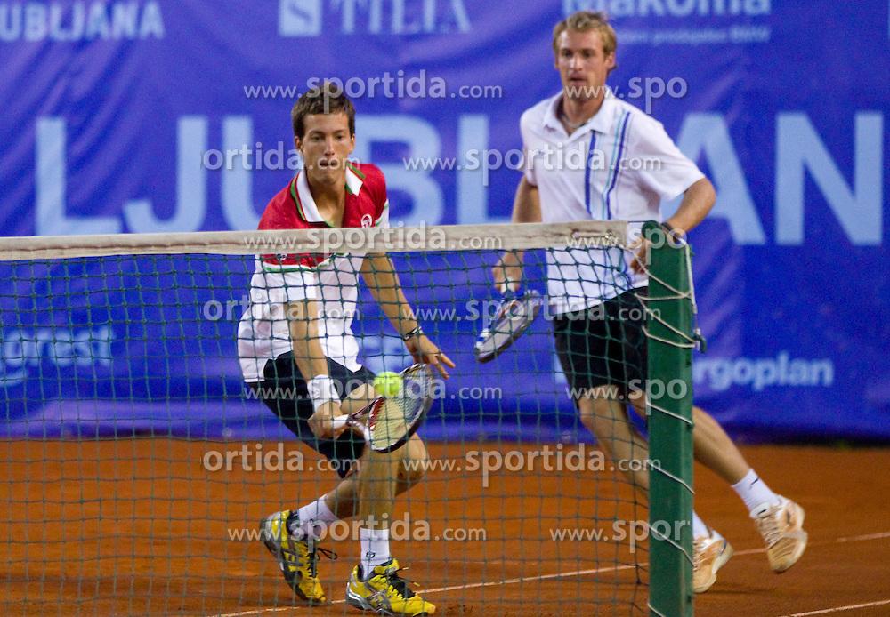 Grega Zemlja of Slovenia (R) and Aljaz Bedene of Slovenia play in doubles during day six of the ATP Challenger Tour BMW Ljubljana Open 2011, on September 24, 2011, in TC Ljubljana Siska, Slovenia. (Photo by Vid Ponikvar / Sportida)