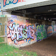 Graffiti on a highway bridge in Doncaster, England