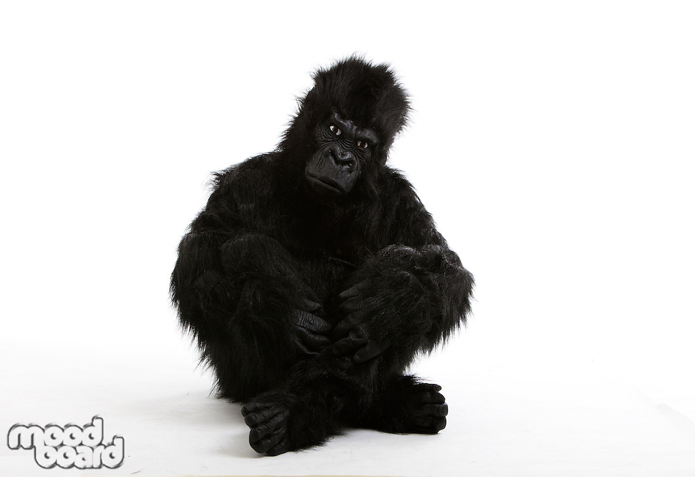 Young man in gorilla costume sitting on floor over white background