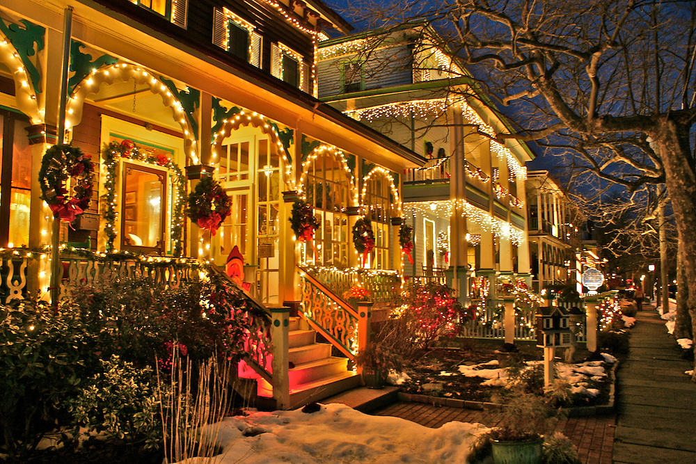 Christmas Decor, Night Lights, Victorian B and Bs, Cape May, NJ