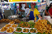 At the Chatuchak Weekend-Market. Tod Man Plaa (deep-fried fishcakes) and other goodies.