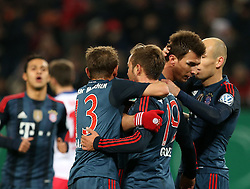 Football: Germany, DFB Cup<br /> Rafinha and Mario Goetze celebrate after the goal of Mario MANDZUKIC (FC Bayern Muenchen), Arjen Robben