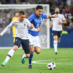 Antoine Griezmann of France and Lorenzo Pellegrini of Italy during the International Friendly match between France and Italy at Allianz Riviera Stadium on June 1, 2018 in Nice, France. (Photo by Anthony Dibon/Icon Sport)