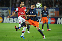 FOOTBALL - UEFA CHAMPIONS LEAGUE 2012/2013 - GROUP STAGE - GROUP B - MONTPELLIER HSC v ARSENAL - 18/09/2012 - PHOTO SYLVAIN THOMAS / DPPI - ANTHONY MOUNIER (MHSC) / SANTI CAZORLA (ARS)
