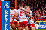 Hull Kingston Rovers prop Robbie Mulhern (21) scores a try  and celebrates during the Betfred Super League match between Hull Kingston Rovers and Leeds Rhinos at the Lightstream Stadium, Hull, United Kingdom on 29 April 2018. Picture by Simon Davies.