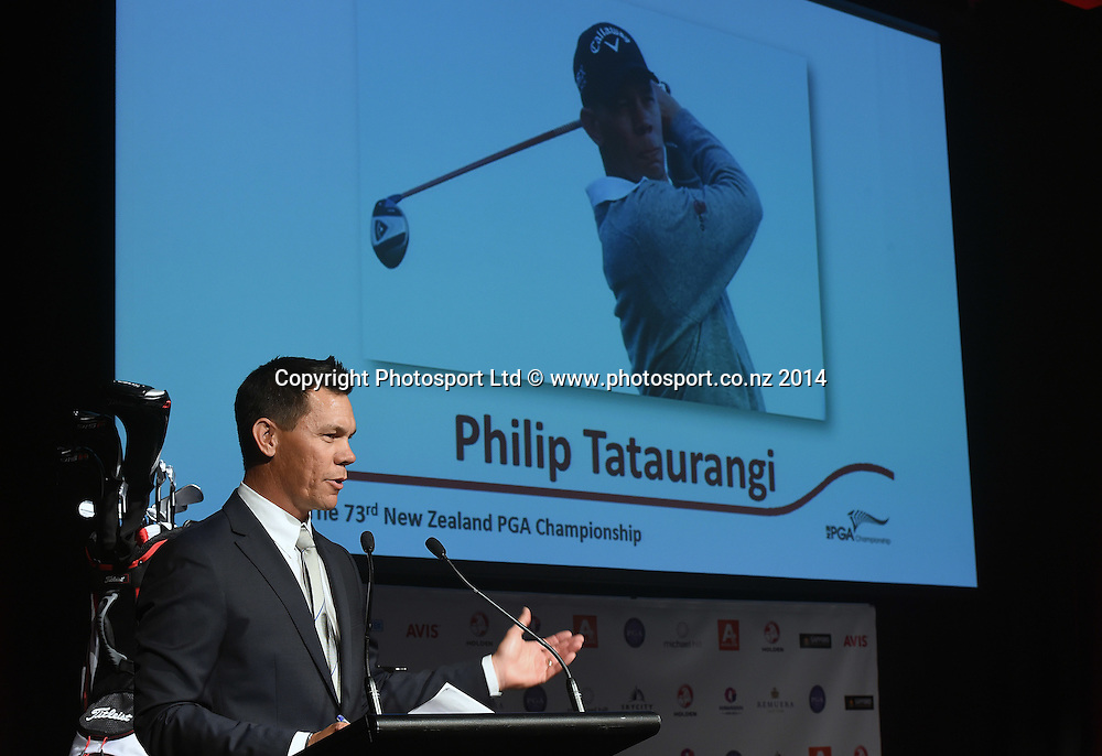 Phil Tataurangi at the launch announcement of the 2015 Holden PGA Championship. Sky City, Auckland on Tuesday 25 November 2014. Photo: Andrew Cornaga/www.photosport.co.nz