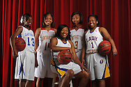 The Oxford Eagle's All-Area Team for girls basketball is player of the year Alexis Malone (sitting) of Oxford High, and BACK (l. to r.) Water Valley's Erica Rice, Lafayette High's Janae Westbrook, Lafayette High's Shaniyah Buford, and Oxford High's Amber Sisk, in Oxford, Miss. on Wednesday, April 3, 2013.