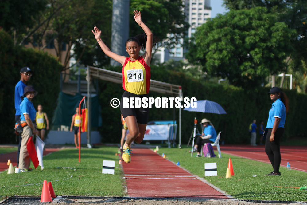 Bishan Stadium, Monday, April 25, 2016 — Daphne Kwok of Victoria Junior College (VJC) leapt 11.35 metres to win the A Division Girls' triple jump gold at the 57th National Schools Track and Field Championships.