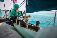Patagonia ambassador Liz Clark and her trusty sidekick Amelia trying to collect water on a rainy morning in French Polynesia.